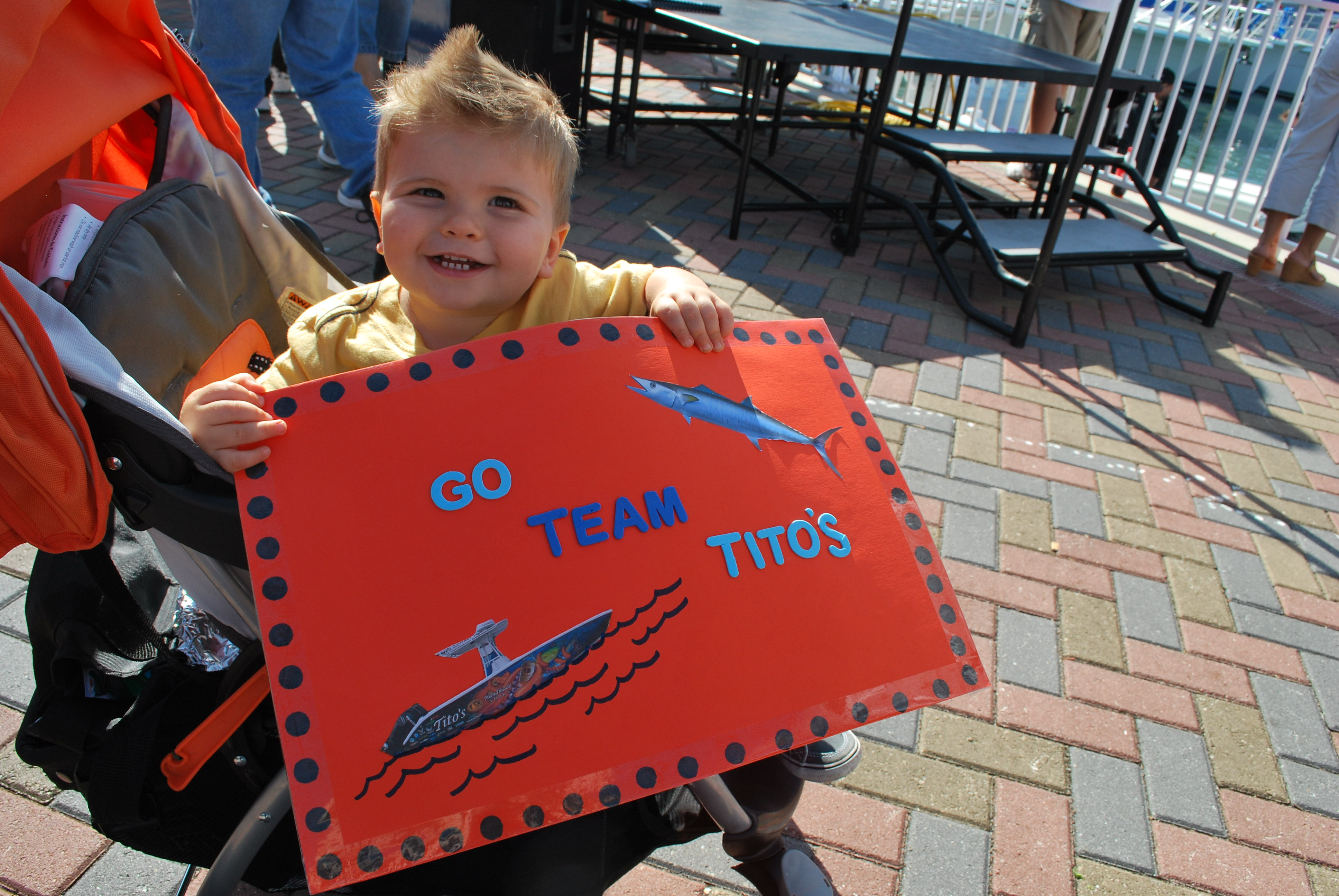 Jace is cheering on Team Tito's SKA fishing team