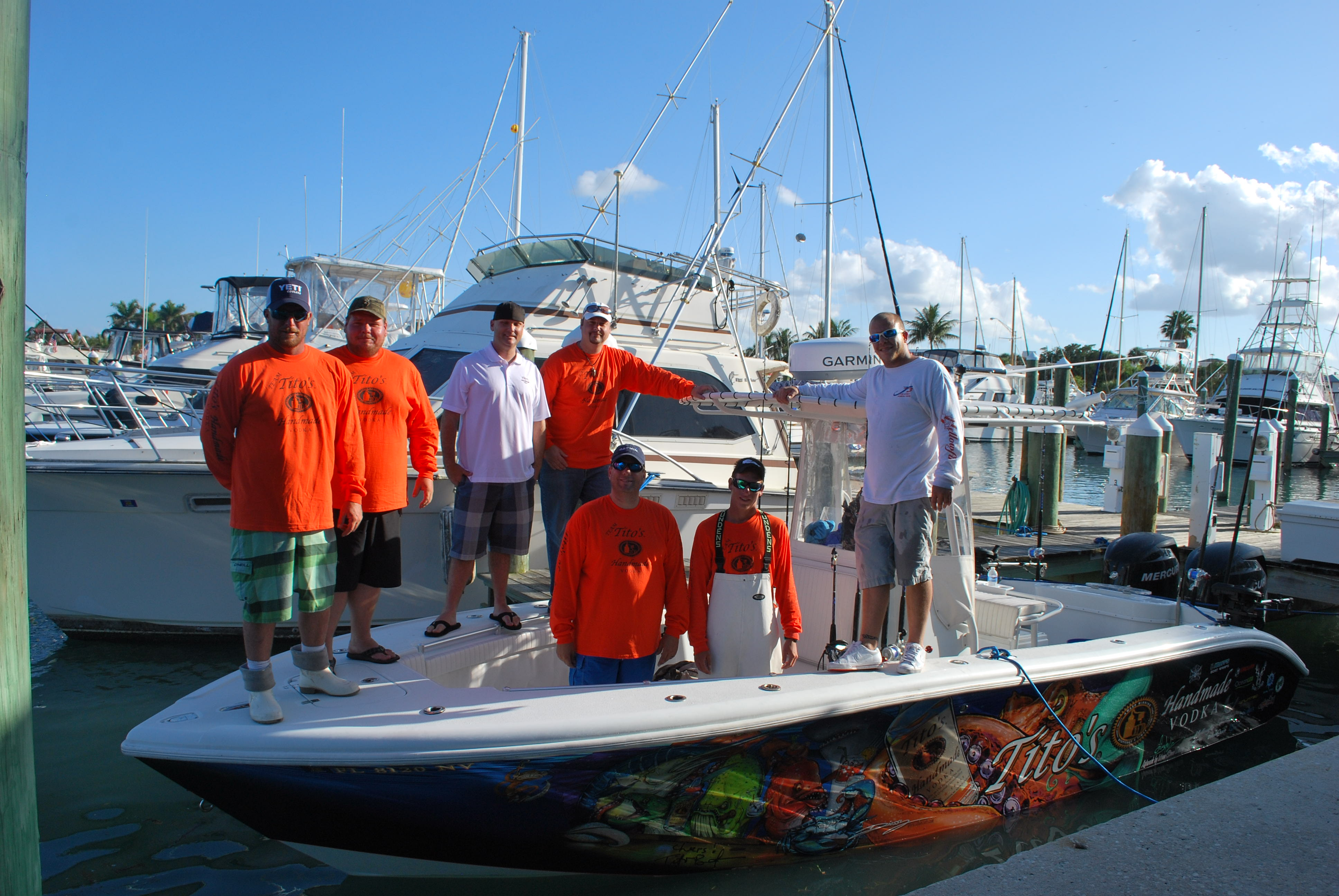This is the first group picture of The Tito's Handmade Vodka Fishing Team for 2013
