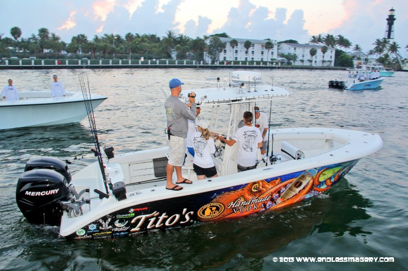 Team Titos Yellowfin at check out for SKA